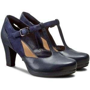 New Clarks Chorus Gia Navy T-Strap Shoes 9.5 Wide